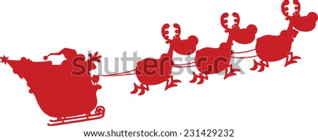 Red Silhouettes Of Santa Claus In Flight With His Reindeer And Sleigh. Vector Illustration Isolated On White Background - stock vector