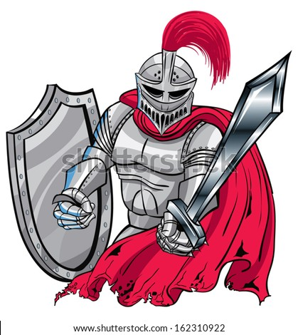 Red, silver Medieval Knight Shield and sword. - stock vector