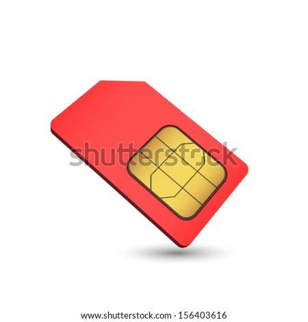 Red sim card. vector - stock vector