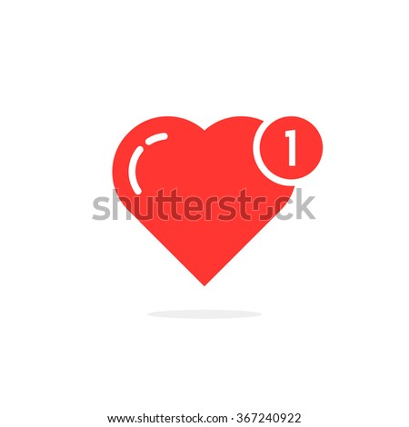 red simple heart like notification. concept of happy valentine day message, ui, charity, positive rating. isolated on white background. flat style trend modern logotype design vector illustration - stock vector