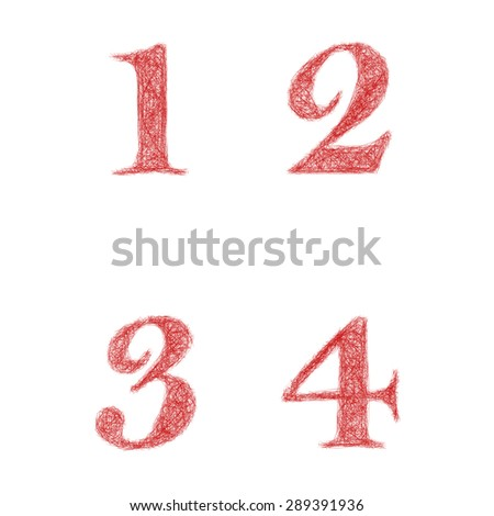 Red sketch font design set - numbers 1, 2, 3, 4 - stock vector
