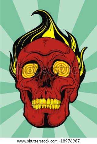 red skull vector - stock vector
