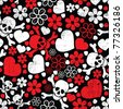 Red skulls in flowers and hearts on black background - seamless pattern - stock photo