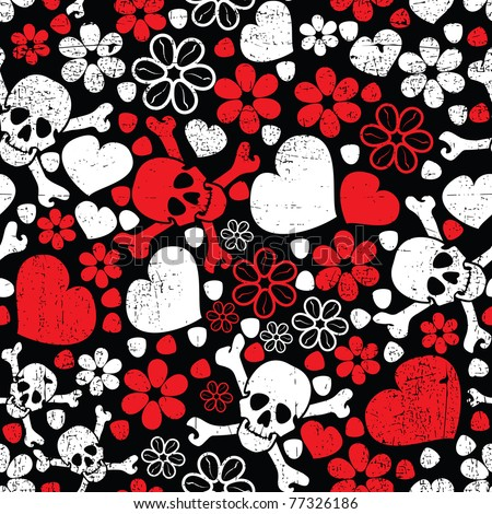 Red skulls in flowers and hearts on black background - seamless pattern
