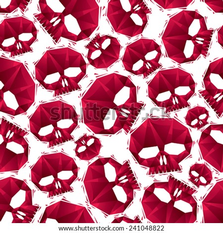 Red skulls seamless pattern, geometric contemporary style repeating vector background, best for use as web backgrounds and wallpapers. - stock vector