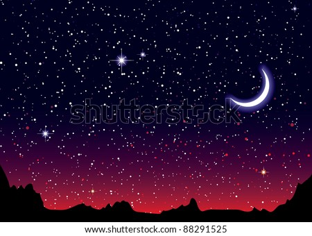 Red sky at night with starry landscape and mountains - stock vector