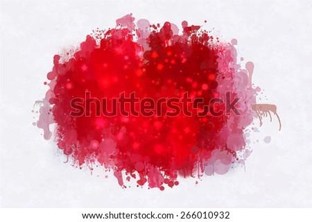 Red small sparkle brush strokes blob. Vector version - stock vector