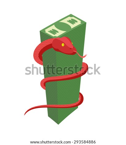 Red Snake encircles large pile of money. Cobra and dollars. Dangerous reptile protects cash. Vector illustration  - stock vector