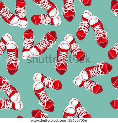Red sneakers on green background. Vector illustration - stock vector