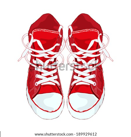 Red sneakers on white background. Vector illustration. - stock vector