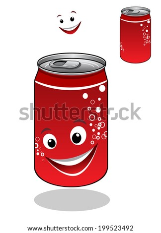 Red soda can with bubbles and a happy smiling face with a second plain variant with no face, isolated on white - stock vector