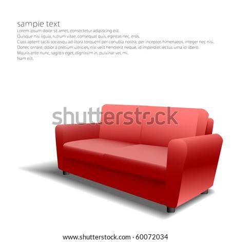 Red sofa design in eps10 - stock vector