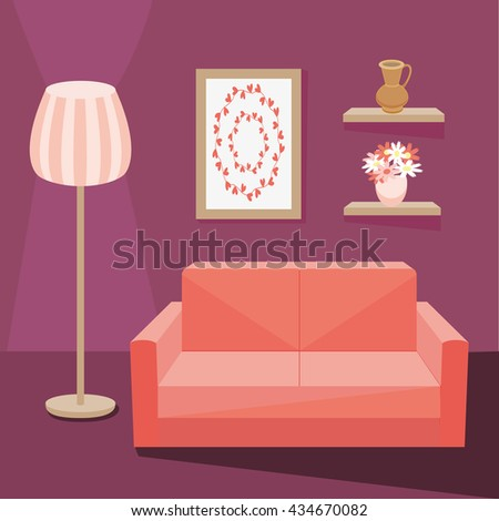 Red Sofa In Dark Purple Living Room With Floor Lamp Burning Next To Shelf  Where Vase Part 81