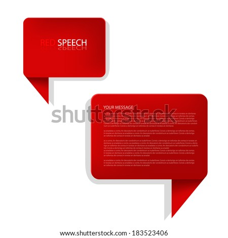 red speech box background vector illustration infographic bubble communication for text and message design eps10 - stock vector