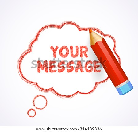 Red speech bubble drawn with highly detailed red pencil. Sketch pencil drawing. Hand-drawn pencil banner with place for text. Vector doodles.  - stock vector