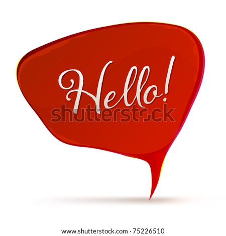 Red Speech Bubble, Isolated On White Background, Vector Illustration - stock vector