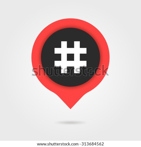 red speech bubble with shadow and hashtag. concept of social media, micro blogging pr, popularity, blogger. isolated on gray background. flat style trend modern logotype design vector illustration - stock vector