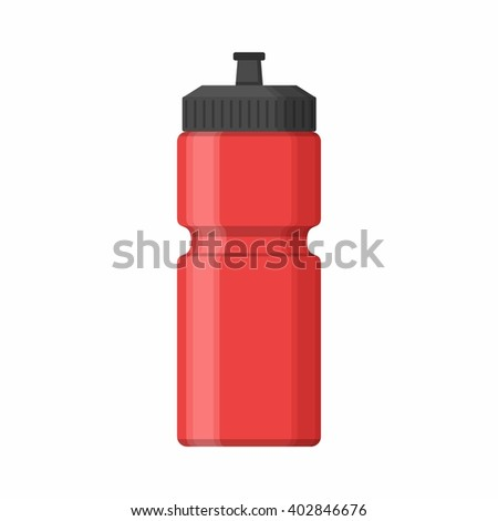 Red Sport bottle icon for water icon in flat style isolated on white background. Sipper vector - stock vector