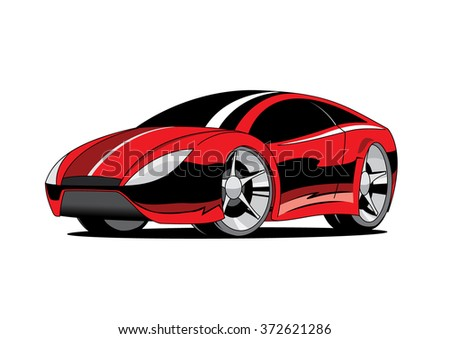 Red sport coupe car. Cartoon kids vector isolated illustration.