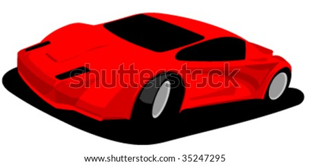 red sports car prototype - vector illustration