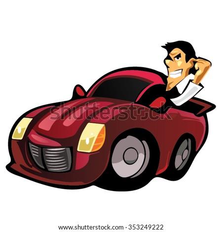 Police Muscle Car Cartoon Cartoon Illustration Stock Illustration - Cool car cartoon