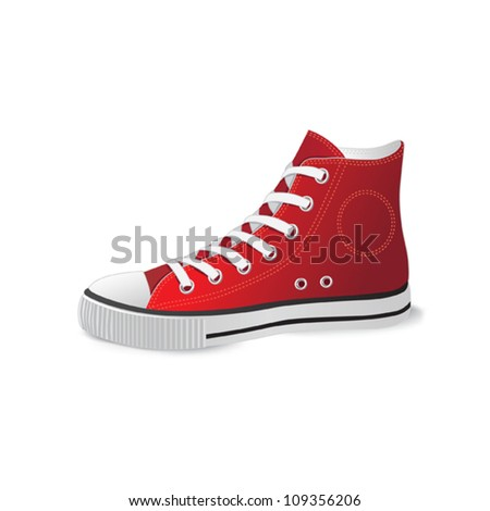 red sports footwear - stock vector