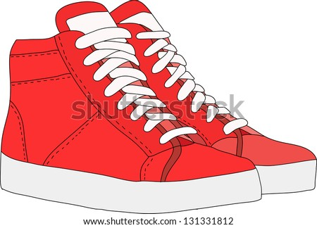 red sports shoes - stock vector