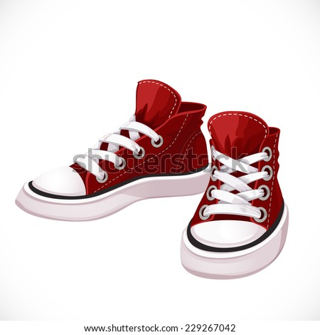 Red sports sneakers with white laces isolated on white background - stock vector