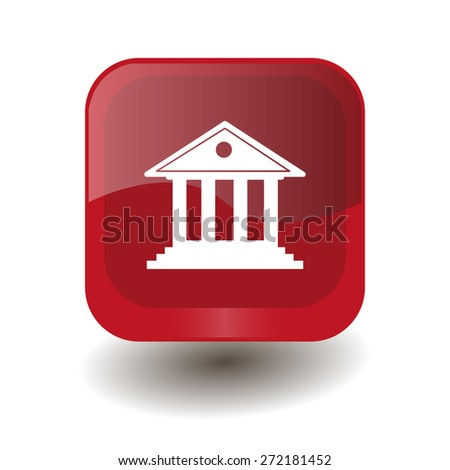 Red square button with white building with columns sign, vector design for website  - stock vector