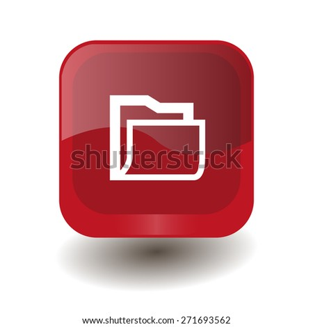 Red square button with white folder sign, vector design for website  - stock vector
