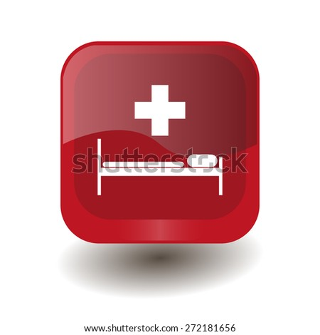 Red square button with white hospital sign, vector design for website  - stock vector