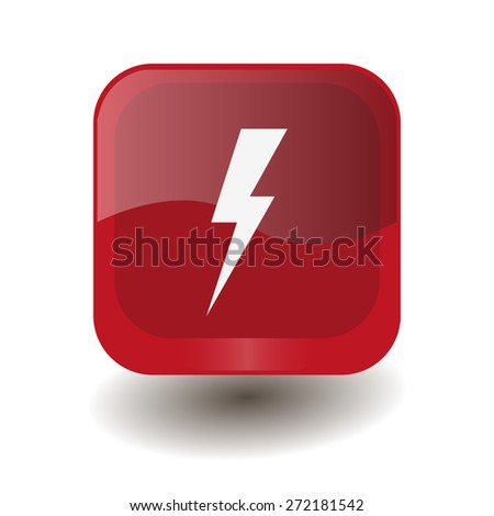 Red square button with white lightning sign, vector design for website  - stock vector