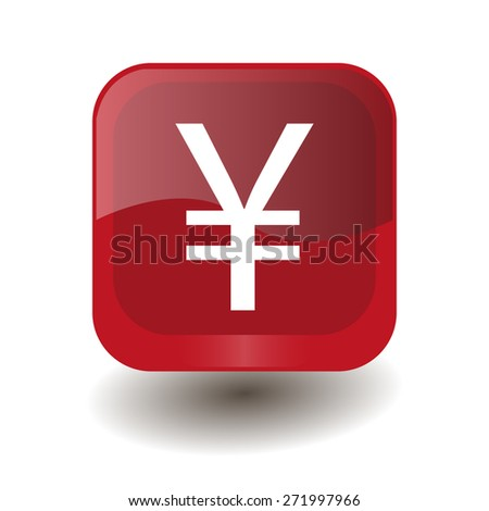 Red square button with white yuan, yen sign, vector design for website - stock vector