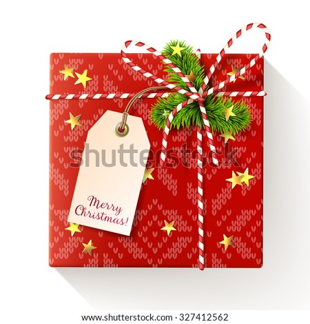 Red square christmas gift box with tag, decorated with red-and-white twisted cord, spruce twigs and gold star-shaped confetti. Vector illustration, isolated on white. - stock vector