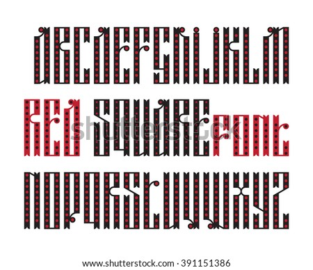 Red Square font. The latin stylization of Old slavic font. Custom type vintage slavic font. Stock vector slavic typography for labels, headlines, posters etc. - stock vector