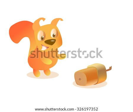 Red squirrel found an acorn. Cute squirrel hunting nut - stock vector