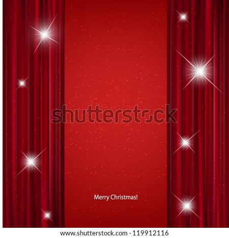 Red stage curtain with light  background. - stock vector