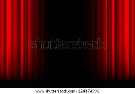 Red stage curtain with light, shadow and black space in middle - stock vector