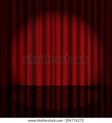 Red Stage Curtain with Light Spot - stock vector