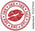 Red stamp with sexy lipstick print - stock vector