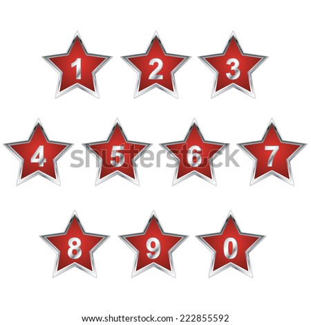 Red Star Number set. Vector - stock vector