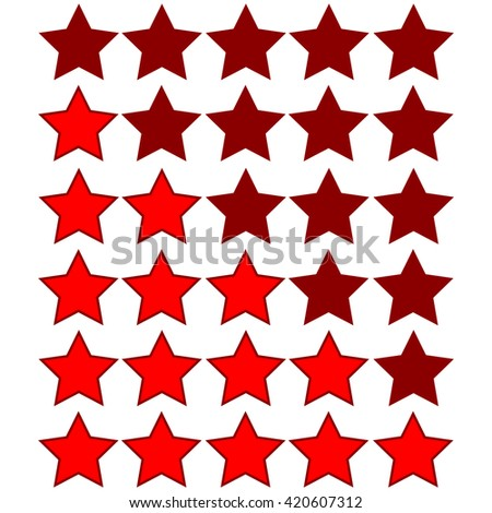 red stars of rating on dark red stars - stock vector