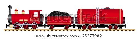 Red steam locomotive with tank wagon, vector illustration - stock vector