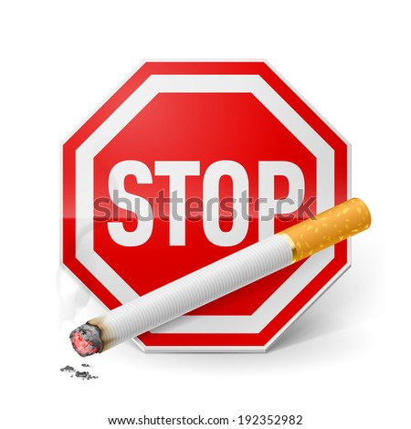 Red stop sign with cigarette as appeal of give up smoking  - stock vector