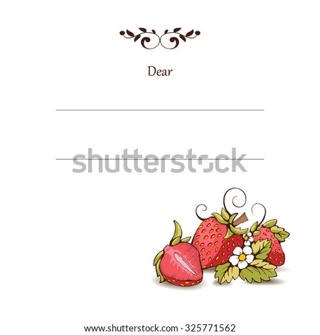 Red strawberry with leaves, stalk, flowers. Isolated from the background. It can be used in packaging, postcard, label. Strawberry cut in half. Vector outline image. There is a place for inscription - stock vector