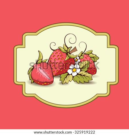 Red strawberry with yellow kernels, leaves, stalk, flowers and tendrils. A strawberry cut in half. Vector outline image. Label with the image on the red background.  - stock vector