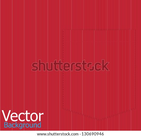 Red striped shirt pocket. Vector background - stock vector