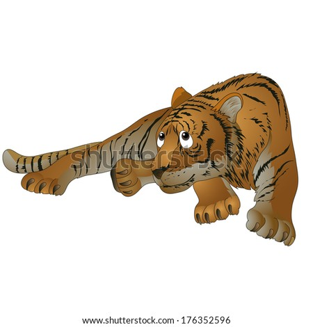 red striped tiger in a supine position. vector illustration - stock vector