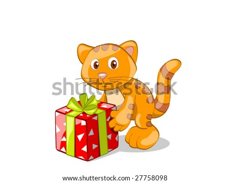 red stripped cat with present (editable layers) - stock vector