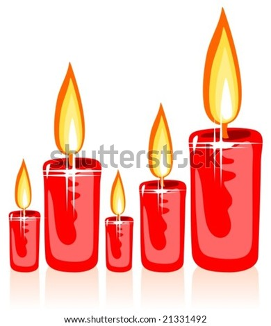Red stylized christmas candles isolated on a  white background.